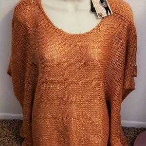 Noelle Sparkle Orange Knit Tunic Open Weave OS